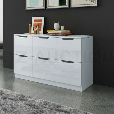 AU229.95 • Buy New 6 Chest Of Drawers Tallboy Dresser Table Storage Bedroom Gloss Cabinet White
