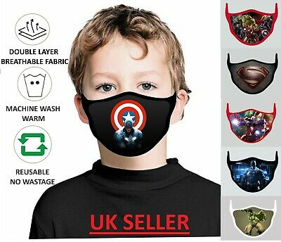 New Child Kids Face Mask Washable Breathable Reusable Double Layer Protection UK • 3.92£