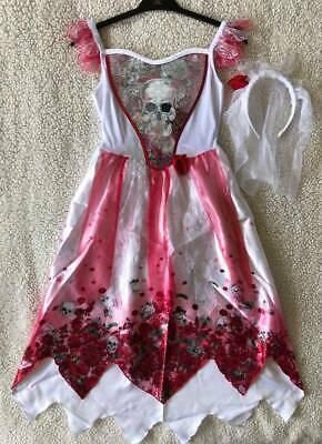 Girls Halloween Corpse Bride/Zombie Outfit/Fancy Dress/Dressing Up Costume 9-10 • 14.99£
