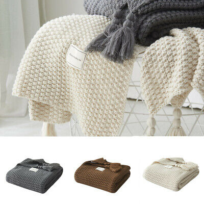 Knitted-Blanket-Artificial-Cashmere Blanket Shawl Sofa Nap Throws Bedroom Sheet • 24.48£