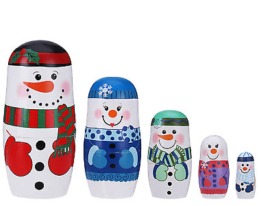 Wooden Christmas Snowman Nesting Dolls 5 Sets Of Dolls Hand Painted Lucky Dolls • 8.33£