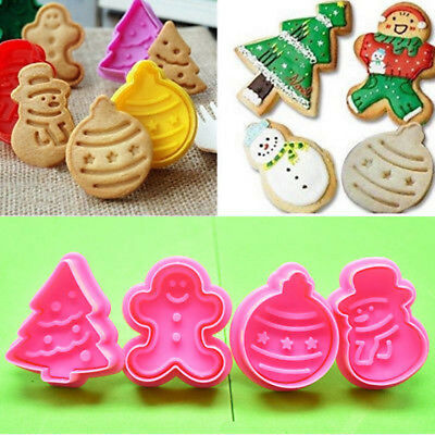 4Pcs Christmas Cookie Biscuit Plunger Cutter Mould Fondant Cake Mold Baking Ul • 3.65£