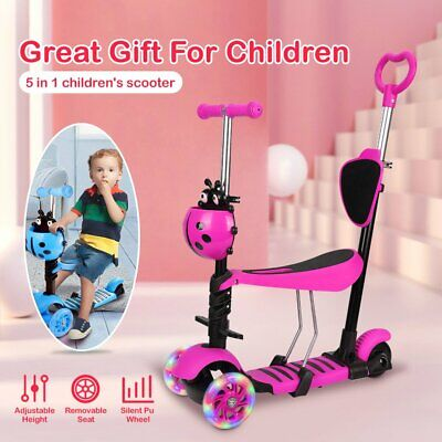 5 In 1 Kids Child Scooter 3 Wheel Toddler Beginner Kick Scooters Adjustable Seat • 23.58£