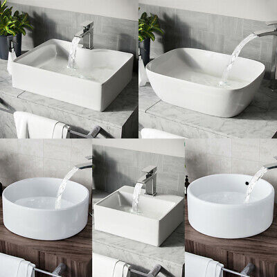 Bathroom Vanity Unit Ceramic Basin Sink Cloakroom Hung Wall Mounted White Stone • 23.99£