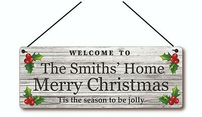 £5.98 • Buy Personalised Family Christmas Metal Aluminium Sign,Plaque Gifts, 20x7.5cm
