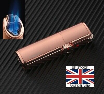 Windproof Triple 3 Jet Torch Blue Flame Metal Powerful Gas Butane Cigar Lighter • 15.45£