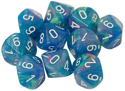 AU23.17 • Buy Chessex D10 Dice Set: Festive Waterlily/White (10)