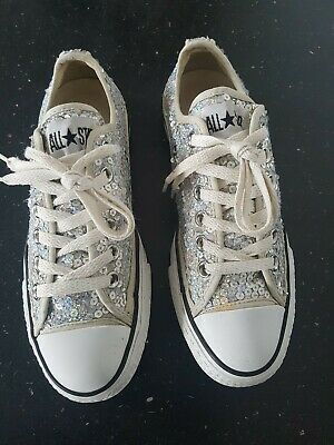 Converse All Star Silver Sequin Size 5 Uk . Great Condition  • 12.99£