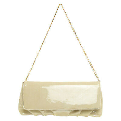 Russell & Bromley Beige Patent Leather With Gold Chain Strap Shoulder Bag  RRP £ • 49.95£