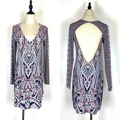 AU34 • Buy Tigerlily Size 10 Dress Long Sleeve Open Back Purple Pattern Paisley