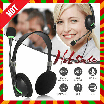 USB Headphones With Microphone Noise Cancelling Headset For Skype Laptop NEW • 7.96£
