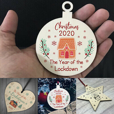 2020 Christmas Year Of The Lockdown Wood Heart Tree Decoration Hanging Gift • 1.89£