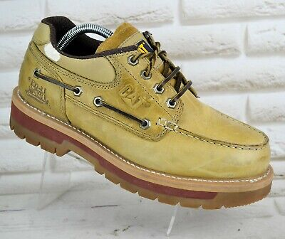 CATERPILLAR Mens Brown Leather Deck Casual Lace-Up Shoes Boots Size 8 UK 42 EU • 41.95£