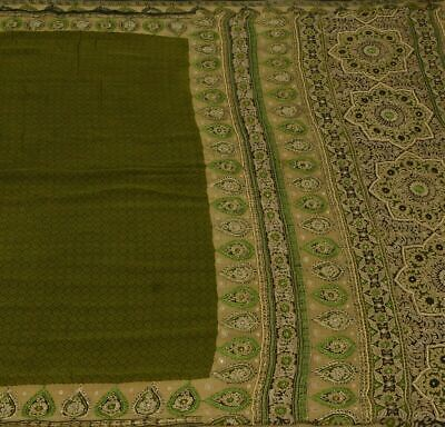 £20.47 • Buy Vintage Scrap Saree 100% Pure Silk Printed Embroidered Soft Green Craft Fabric
