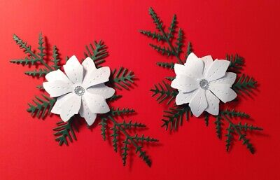 Pack Of 5  Stunning White Christmas Flowers.  Die Cuts For Cards/toppers • 2.95£