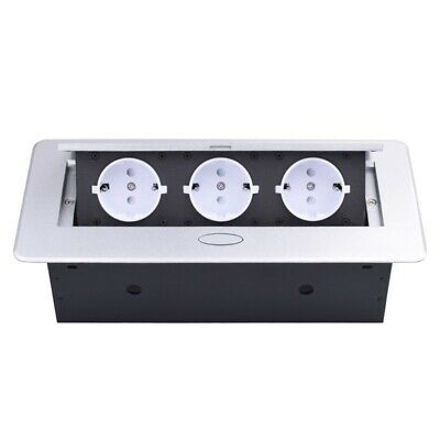 EU Table Socket Slow POP UP 3 Power Outlets Room Floor Silver Cover Module Box • 58.91£
