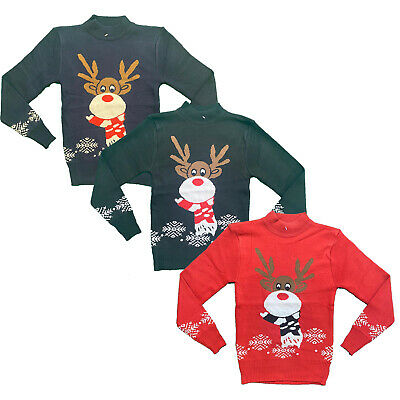 Boys Girls Kids Christmas Jumper Reindeer Sweater Xmas Sweatshirt Top Rudolph • 7.99£