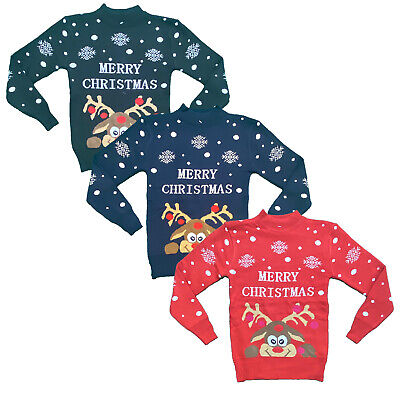 Boys Girls Kids Christmas Jumper Reindeer Sweater Xmas Sweatshirt Top Rudolph • 6.99£