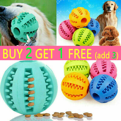 Pet Dog Puppy Teething Dental Health Treat Clean Toy Durable Rubber Ball Chew UK • 5.16£