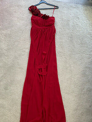 JANE NORMAN Maxi Formal Summer Ball Prom Dress, Red, Floral Detail, UK Size 6 • 6.10£