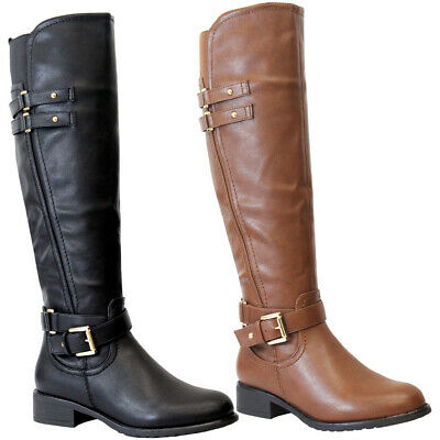 Ladies Faux Leather Knee High Boots Women Flat Heels Long Riding Calf Shoes Size • 25.95£