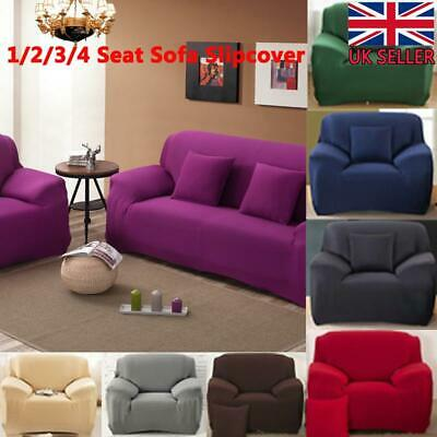 1/2/3/4Seater Stretch Sofa Cover Slipcover Spandex Cushion Cover Pillow Case UK • 10.19£