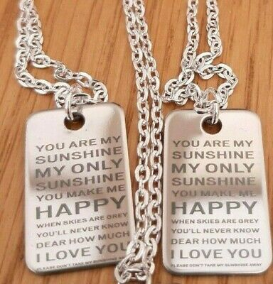 Stainless Steel Pendant You Are My Sunshine Verse & 18  Silver Chain Necklace • 3.25£