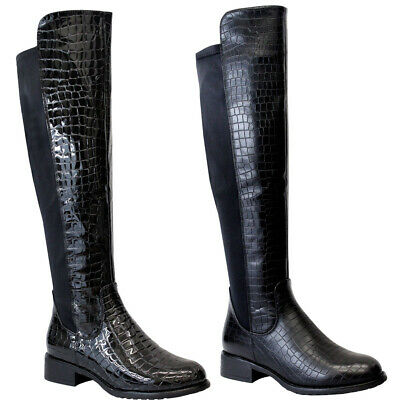 Ladies Over The Knee High Boots Womens Flat Heels Stretch Calf Riding Shoes Size • 23.95£