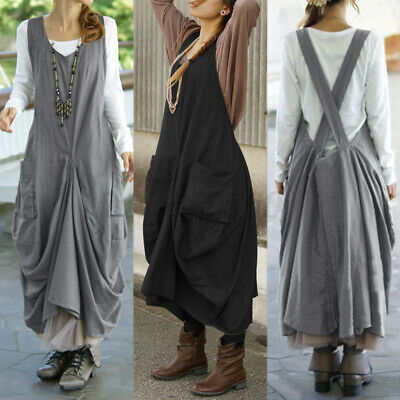 AU14.65 • Buy ZANZEA Women Sleeveless Sundress Overalls Pinafores Dress Back Cross Long Dress