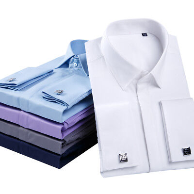 Mens Long Sleeves Shirts French Cuff Business Work Formal Dress Multicolor W6432 • 9.99£
