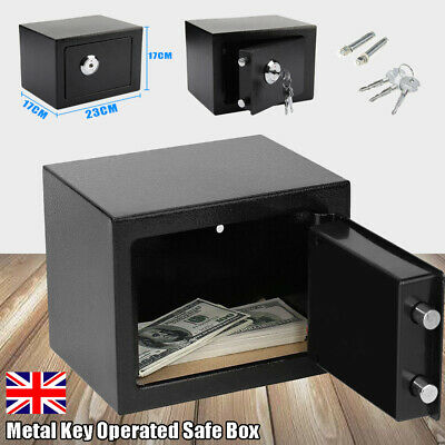 Solid Steel Fireproof Safe Security Home Office Money Cash Safety Mini Box W/key • 19.99£