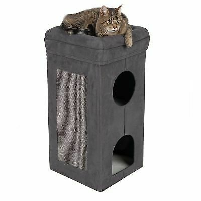 Cat Sisal Scratching Post Tower Stand Nest Scratcher Play Hide Cave Tiers House • 57.14£