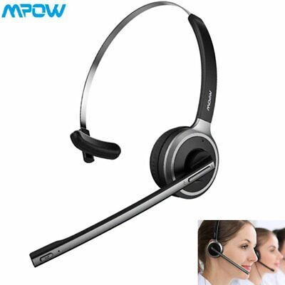 MPOW Wireless Bluetooth Headset Over Ear Headphones Mic For Truck Driver Skype • 18.99£