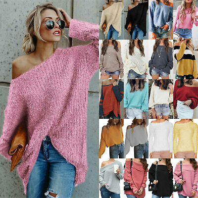 Womens Off The Shoulder Knitted Jumper Autumn Ladies Baggy Sweater Tops Pullover • 9.02£