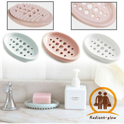 Drain Soap Holder Box Bathroom Case Traveling Hollow Wash Soap Dish Gadgets Home • 2.99£
