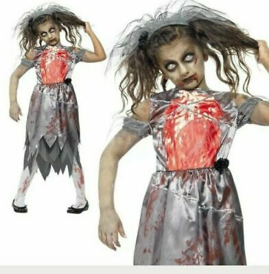 Girls Zombie Bride Costume - Fancy Dress Evil Halloween Scary Kids  • 9.94£