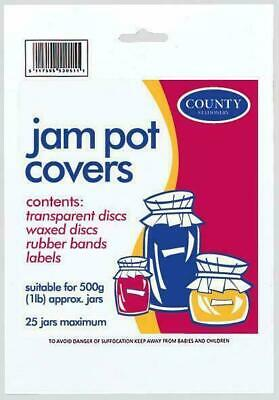 Jam Pot Covers For 25 X 500g (1lb) Jars - With Rubber Bands And Labels • 2.99£