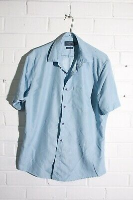 Atlantic Bay Mens Short Sleeve Shirt - Blue - Size Medium M (L-M7) • 2.49£