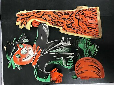 $ CDN77.84 • Buy Vintage Halloween Decorations Paper Pumpkin Owl Witch Wall Hanging Party Retro