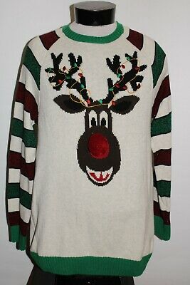 $19.31 • Buy UGLY CHRISTMAS Sweater Mens Large L Reindeer Sweater Combine Ship Discount