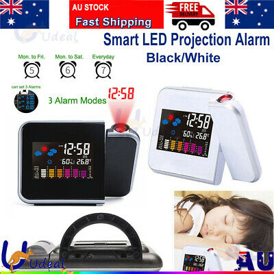 AU22.66 • Buy LCD Smart Alarm Clock Digital LED Projection Time Temperature Projector Display