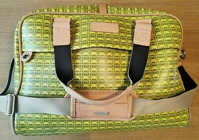 Orla Kiely Laptop/Changing Bag + Sleeve, Lime & Citrine With Tan Leather Trim • 65£