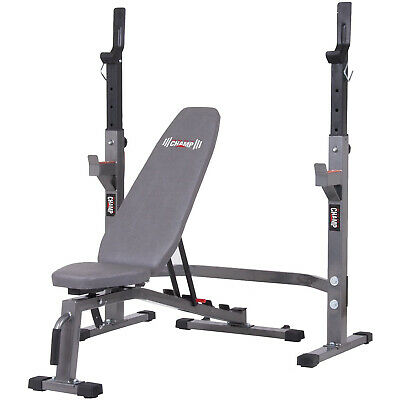 £130.93 • Buy Body Champ PRO3900 Two Piece Set Olympic Weight Bench With Squat Rack, Gray