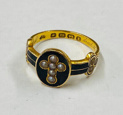 £652.50 • Buy STUNNING VICTORIAN 18ct Yellow Gold & Seed Pearl Mourning Ring