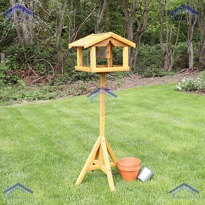 Wooden Wild Bird Table With Built In Feeder Free Standing Feeding Station • 18.95£