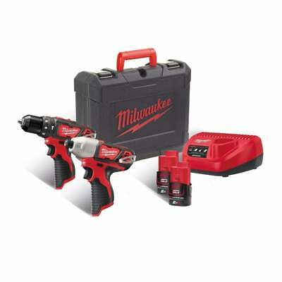 Milwaukee M12BPP2B-202C 12v Drill & Impact Driver Set 2 M12B2, Charger And Case • 179£