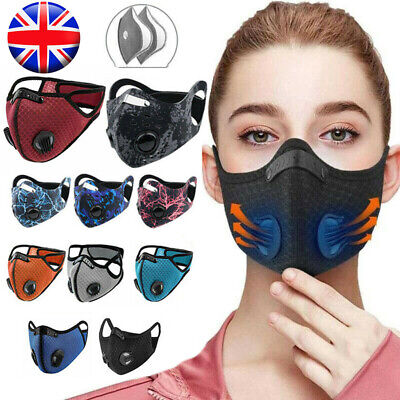 UK Face Mask Reusable Washable Anti Pollution PM2.5 Two Air Vent With Filter • 4.55£