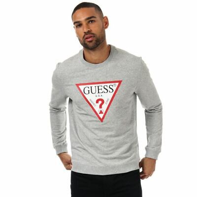 Men's Guess Audley Clear Stretch Crew Neck Slim Fit Sweatshirt In Grey • 23.94£