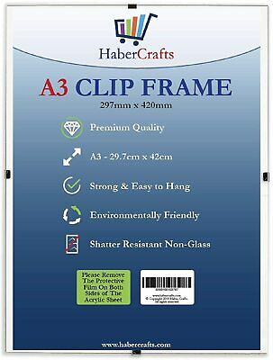 £8.99 • Buy Clip Frame A3 Size Frameless Picture Frame Photo Poster Certificate Non Glass