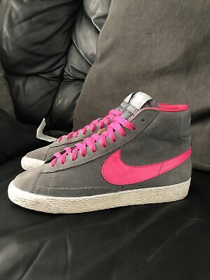 Nike Blazer Mid Suede Grey Hot Pink Trainers Size UK 5.5 • 18.99£